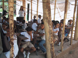 Dominican Children in outside classroom