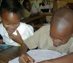 Children laughing in classroom