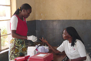 Woman Adminstering HIV test